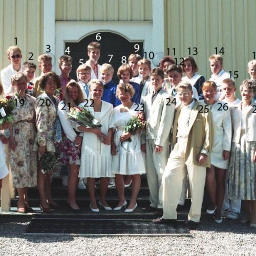 1991 Klass 9 A examen i Älvsby kyrka