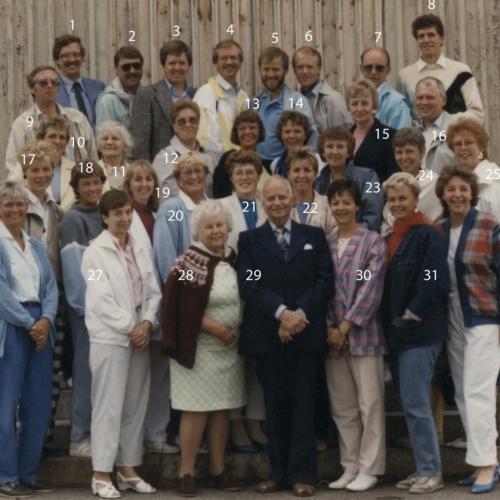 1986-07-05 Klass återträff för elever som började skolan 1949.