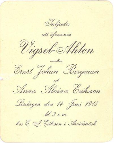 Ernst Johan Bergman och Anna Alvina Eriksson