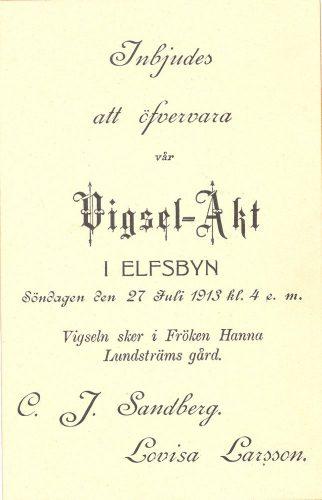 Carl Johan Sandberg o Lovisa Larsson