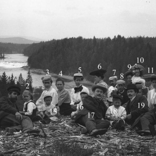 Familjerna Löfgren och Engelmarks utflykt till Fällforsen c:a 1910