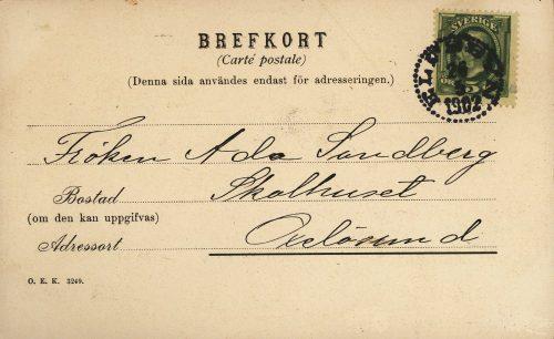 Adress till brefkort 26/5 1902, nästa bild framsidan av kortet