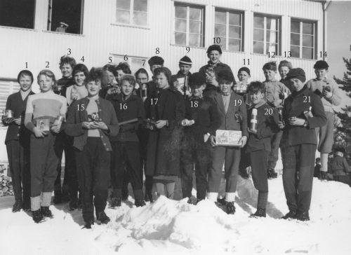 Skidtävling i Korsträsk skola 1955