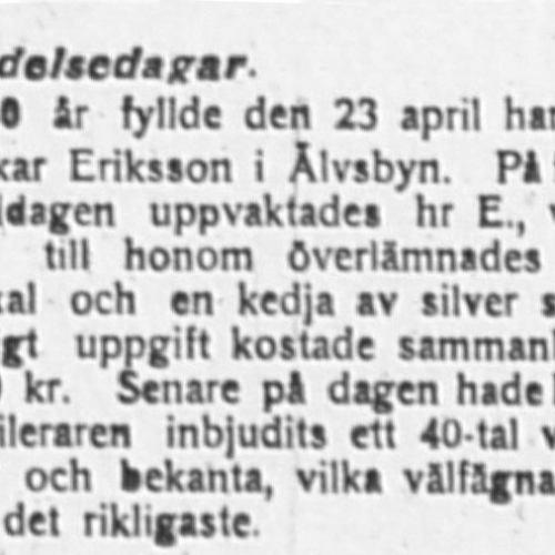 Oskar Eriksson 50 år
