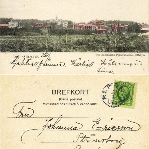 Brevkort parti af Elvsbyn 1906