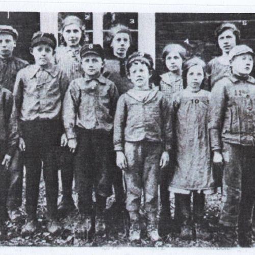 Skolkort från 1921 i Lillträsk/Fleviken hos Petter Isaksson.