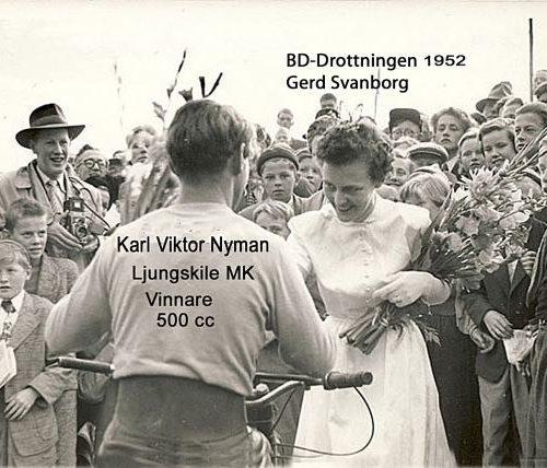 BD-Drottningen Gerd Svanborg gratulerar K-V Nyman Ljungskile MK
