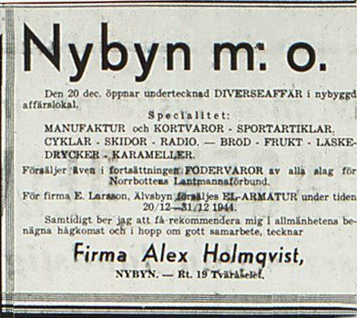 Alex Holmqvists affär i Nybyn
