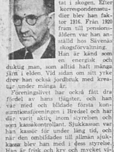Lagerskog Karl Leonard 75 år Bredsel 4 April 1964 NSD