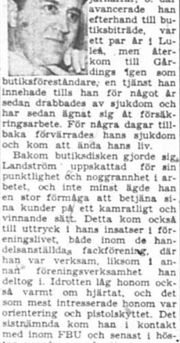 Landström Ture Älvsbyn död 10 Okt 1957 PT