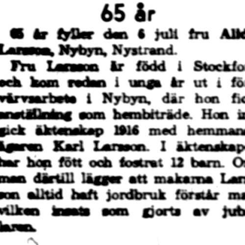 Larsson Alida Nybyn 65 år 5 Juli 1960 NK