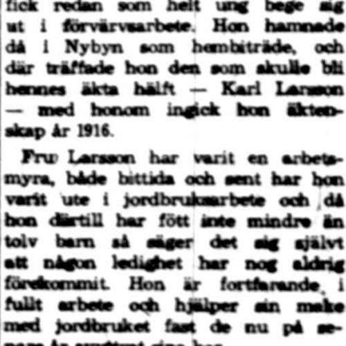 Larsson Alida Nybyn 65 år 6 Juli 1960 NK