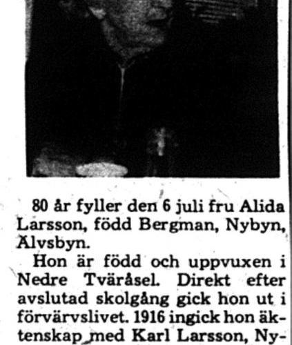 Larsson Alida Nybyn 80 år 5 Juli 1975 PT