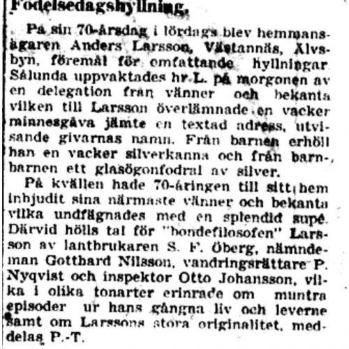 Larsson Anders Västanäs 70 år 12 Mars 1941 PT