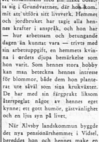 Larsson Beda Evelina Brännmark Vidsel 70 år 3 Aug 1957 PT