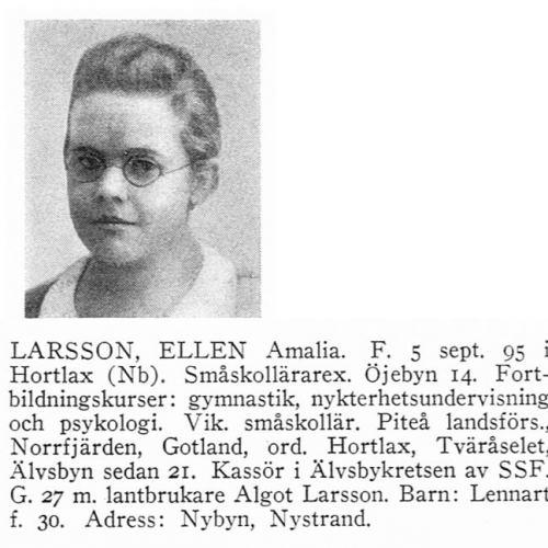 Larsson Ellen 18950905 Från Svenskt Porträttarkiv