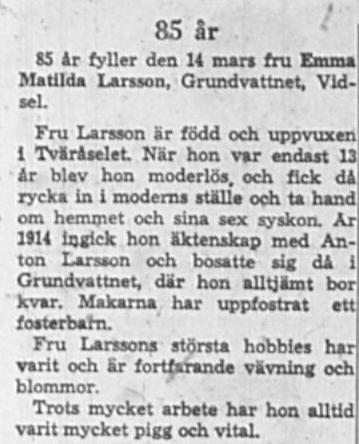 Larsson Emma Matilda Grundvattnet 85 år 14 Mars 1964 NK