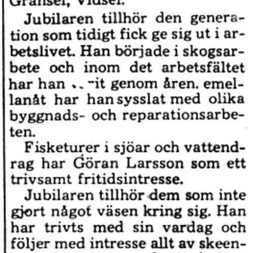 Larsson Göran Gransel 75 år 22 Feb 1975 PT