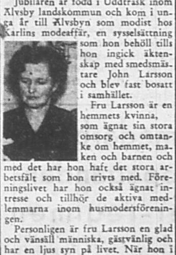 Larsson Helga Älvsbyn 50 år 21 Nov 1956 PT