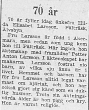 Larsson Hilda Elisabeth Pålträsk 70 år 19 Jan 1957 PT