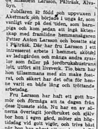 Larsson Hilda Elisabeth Pålträsk 75 år 18 Jan 1962 Pt