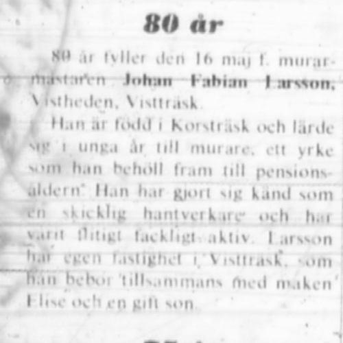Larsson Johan Fabian Vistträsk 80 år 16 Maj 1972 NK