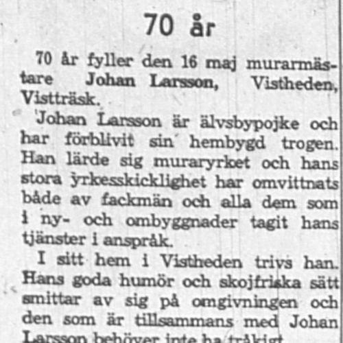 Larsson Johan Vistheden 70 år 16 Maj 1962 NK