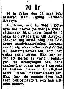 Larsson Karl Ludvig Älvsbyn 70 år 12 Maj 1953 NK