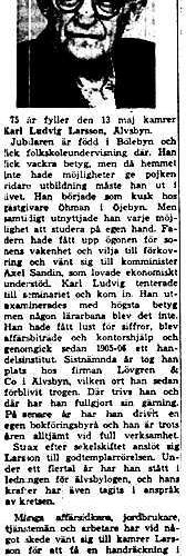 Larsson Karl Ludvig Älvsbyn 75 år 12 Maj 1958 NK