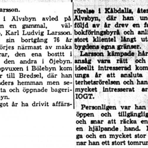Larsson Karl Ludvig Älvsbyn död 3 Juni 1959 NK