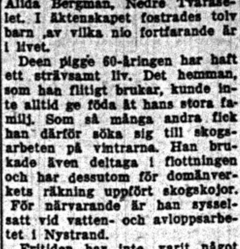Larsson Karl Joel Bredsel 75 år 14  Juli 1958 NK