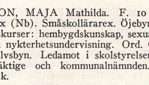 Larsson Maja Från boken Sveriges Småskollärarinnor tryckt 1945