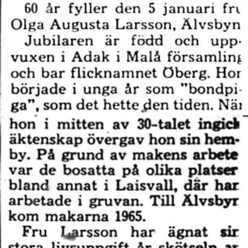 Larsson Olga Augusta Älvsbyn 60 år 4 Jan 1975 PT