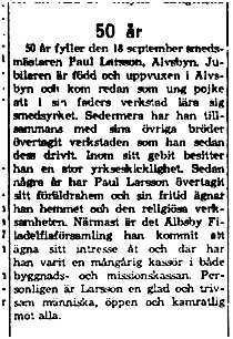 Larsson paul Älvsbyn 50 år 18 sept 1961 NK