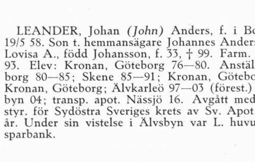 Leander Johan 18580519 Från Svenskt Porträttarkiv