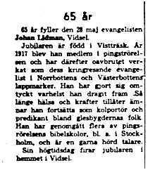 Lidman Johan Vidsel 65 år 27 Maj 1958 NK