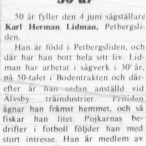 Lidman Karl Herman Petbergsliden 50 år 3 Juni 1972 NK