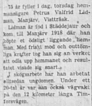 Lidman Petrus Valfrid Manjärv 75 år 21 Jan 1960 NSD