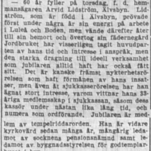 Lidström Arvid Älvsbyn 60 år 20 Sept 1938 NK