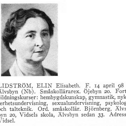 Lidström Elin 18980414 Från Svenskt Porträttarkiv b