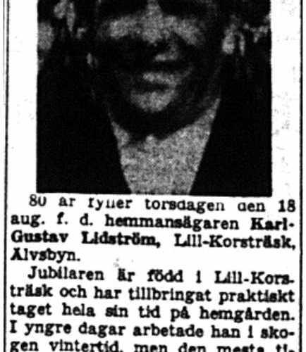 Lidström Karl-Gustav Lill-Korsträsk 80 år 16  Aug 1954 NK