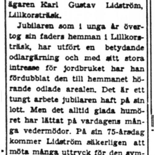Lidström Karl Gustav Lillkorsträsk 75 år 18  Aug 1949 PT