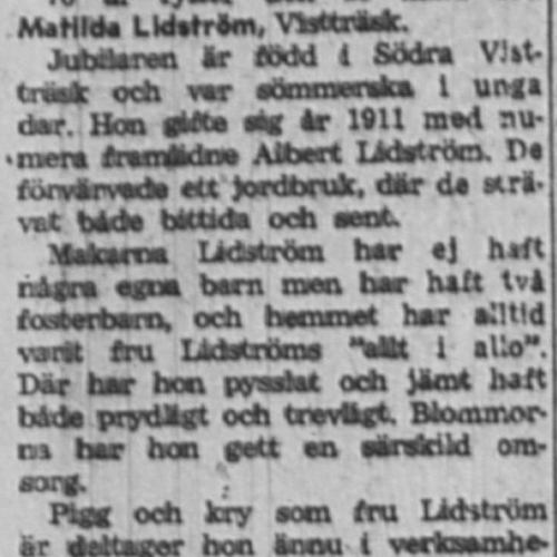 Lidström Matilda Vistträsk 70 år 24 Mars 1958 NK