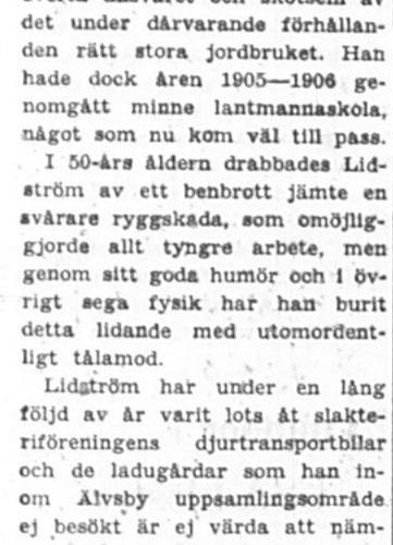 Lidström Per Albert Norra byn 70 år 13 Aug 1957 PT