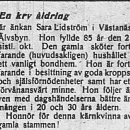 Lidström Sara Västanäs 85 år 27 jan 1919 PT