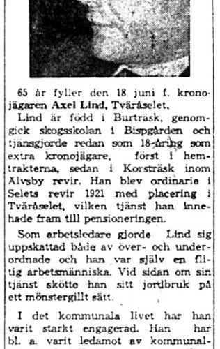 Lind Axel Tväråsel 65 år 18  Juni 1959 Nk