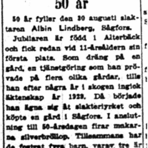 Lindberg Albin Sågfors 50 år 30 Aug 1954 NK