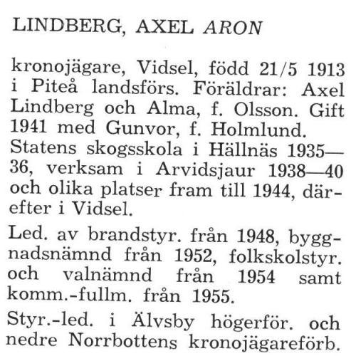 Lindberg Axel Aron Älvsby Landskommun 1957