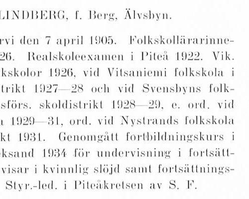 Lindberg-Berg Hildur 19050407 Från Svenskt Porträttarkiv