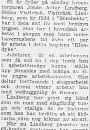 Lindberg Johan Artur Södra Vistträsk 65 år 19 Jan 1957 PT